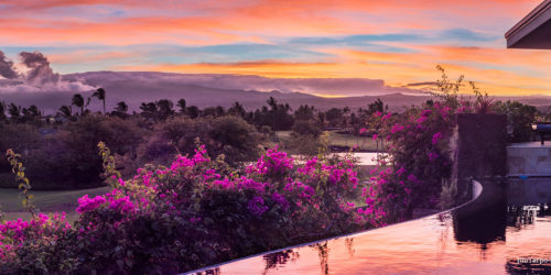 sunrise over infinity pool on hawaii